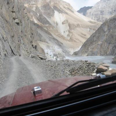 Driving on gravel road