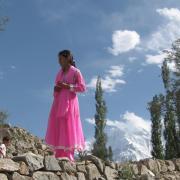 Women in pink dress